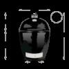 Kép 2/3 - Primo Kamado Round  - All in One  (kerámia grillsütő + hőelzáró lap és tartórács + állvány + oldalpolcok + rácskimelő + hamuzó)