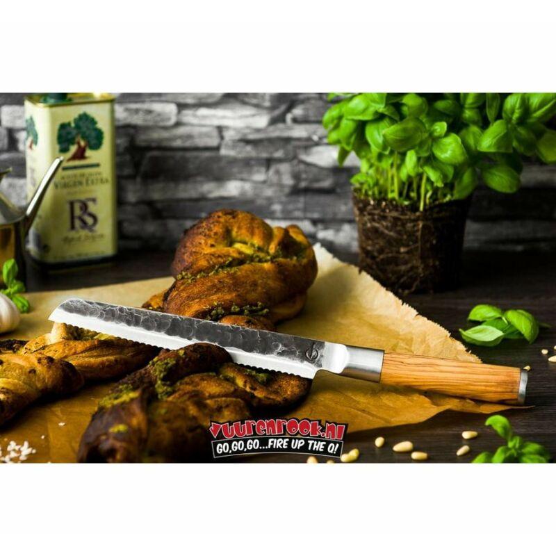 Forged Kovácsolt kenyér szeletelő kés oliva nyéllel