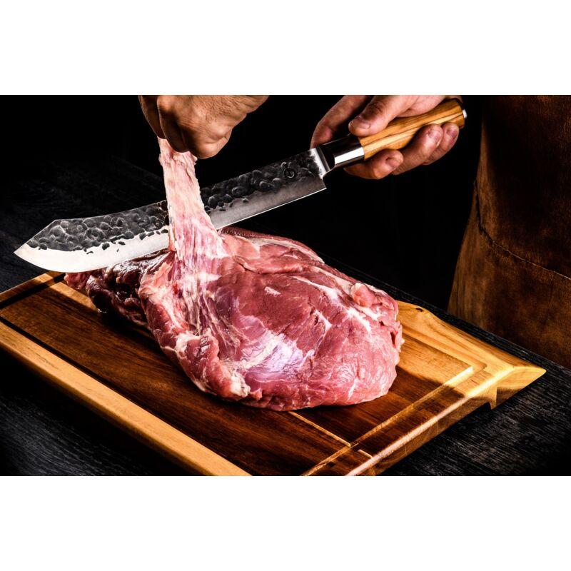 Forged oliva nyelű hentes kés díszdobozban