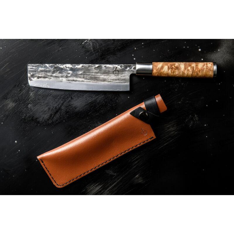 Forged VG10 gyökérfa nyelű zöldségszeletelő kés bőr tokkal díszdobozban